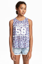 Wrapover vest top - Light blue/Leopard print -  | H&M 1