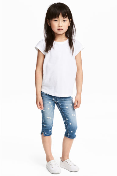 Denim capri leggings - Denim blue/Star - Kids | H&M 1
