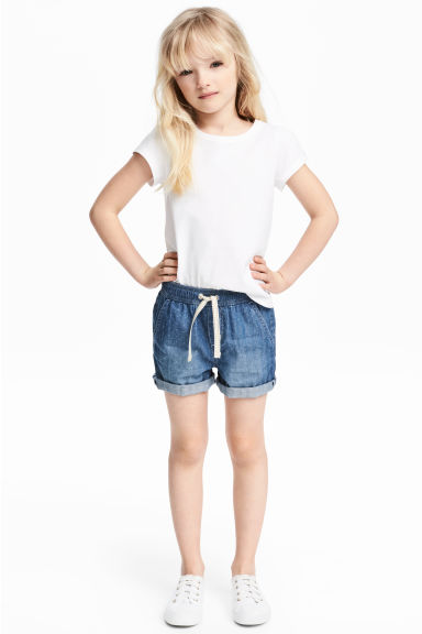 Denim shorts - Denim blue/Spotted - Kids | H&M 1