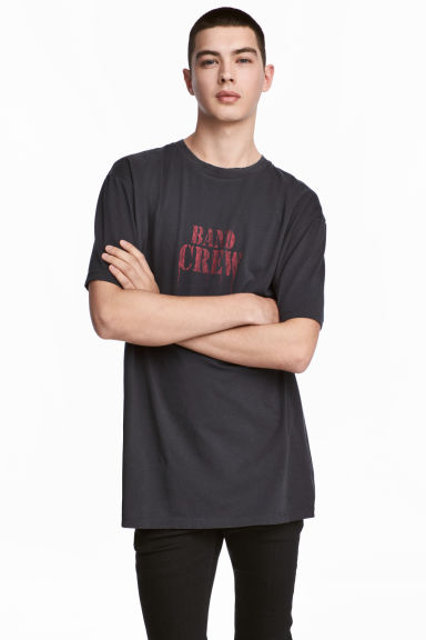 Printed T-shirt - Black/Text - Men | H&M 1