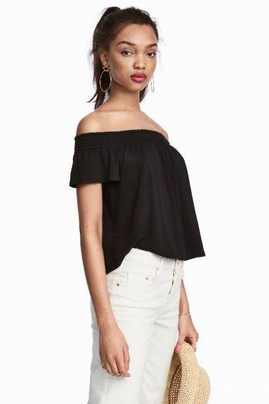 Off-the-shoulder top - Black -  | H&M