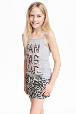 Printed strappy jersey top - Grey marl - Kids | H&M CA 1