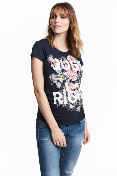 MAMA Jersey top with a motif - Dark blue/Floral -  | H&M CN 1