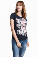 MAMA Jersey top with a motif - Dark blue/Floral - Ladies | H&M 1