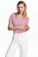 Cotton T-shirt - Cerise/Striped - Ladies | H&M 1