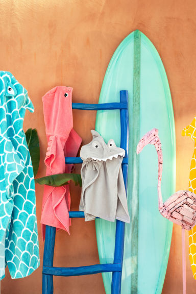 Hooded towel - Turquoise/Shark - Home All | H&M GB 1