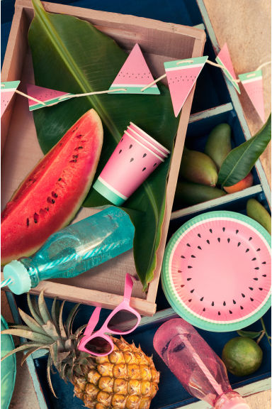 10-pack paper plates - Watermelon - Home All | H&M GB 1