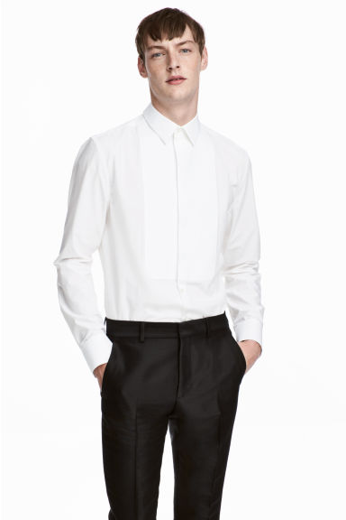 Cotton bib shirt - White -  | H&M 1