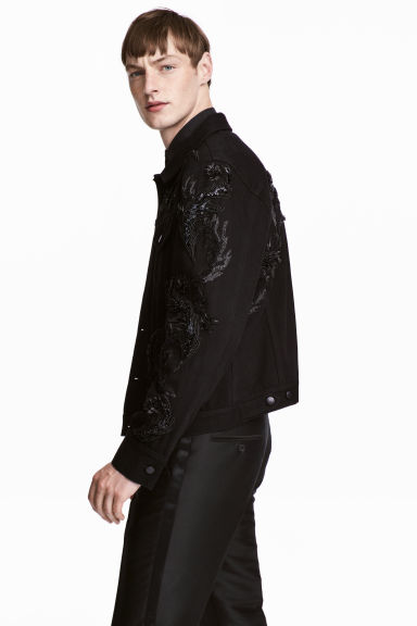 Embroidered denim jacket - Black - Men | H&M CN