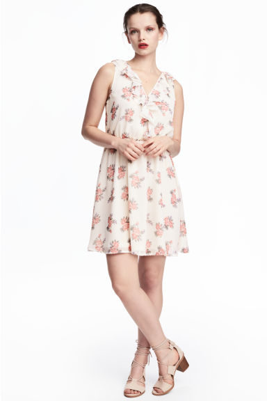 縐紗洋裝 - Natural white/Floral - Ladies | H&M 1