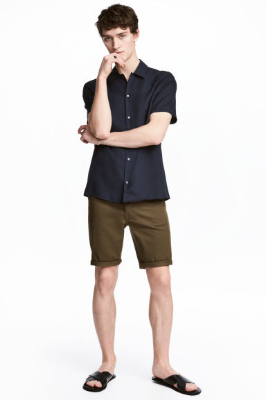 斜紋短褲 - Dark Khaki - Men | H&M 1