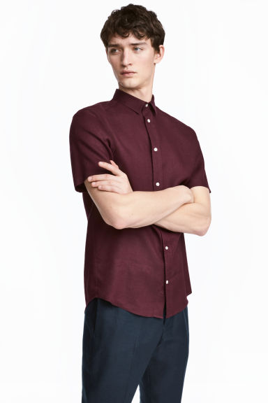 Short-sleeved linen shirt - Burgundy - Men | H&M