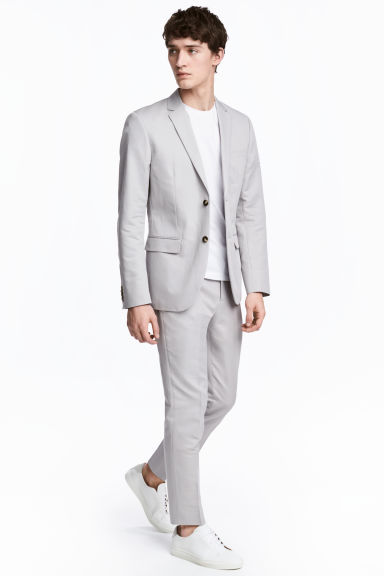 Linen-blend trousers Slim fit - Light grey - Men | H&M 1