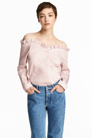 Off-the-shoulder blouse - Powder pink - Ladies | H&M 1