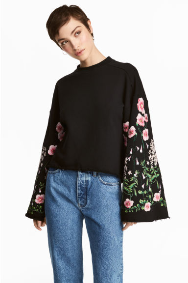 Embroidered sweatshirt - Black/Floral - Ladies | H&M 1