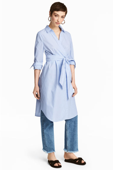 Cotton wrap dress - Blue/White/Striped - Ladies | H&M 1