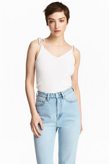 Ribbed strappy top - White - Ladies | H&M 1
