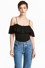 Body with a flounce - Black - Ladies | H&M 1