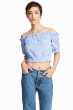 Off-the-shoulder blouse - Blue/White/Striped - Ladies | H&M 1