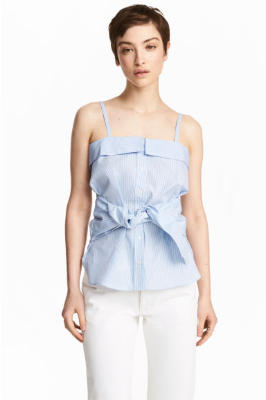 Cotton top - Blue/White/Striped - Ladies | H&M 1