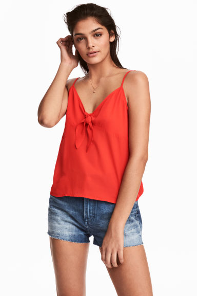 Strappy top with a knot - Red -  | H&M
