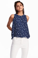 褶縐上衣 - Dark blue/Stars - Ladies | H&M 1
