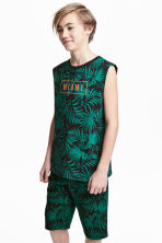 Sleeveless top - Black/Leaf -  | H&M IE 1