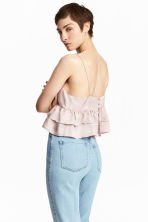 Short tiered strappy top - Powder pink - Ladies | H&M 1