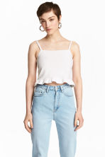Short frilled strappy top - White - Ladies | H&M CA 1
