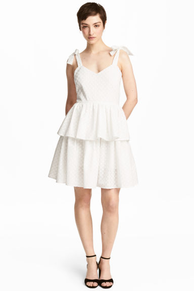 Embroidered cotton dress - White - Ladies | H&M GB
