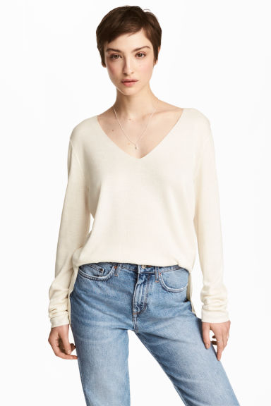 Fine-knit jumper - Natural white - Ladies | H&M 1