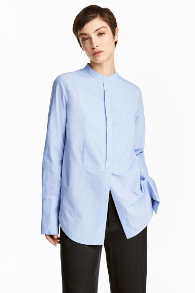 Premium cotton shirt - Blue - Ladies | H&M 1