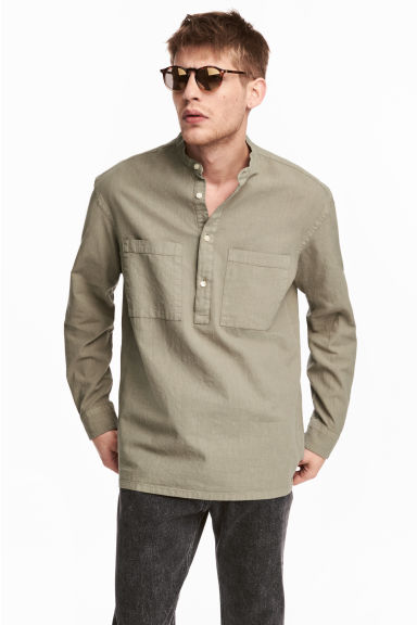 Linen-blend shirt Relaxed fit - Khaki - Men | H&M 1