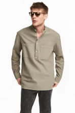 Linen-blend shirt Relaxed fit - Khaki - Men | H&M CN 1