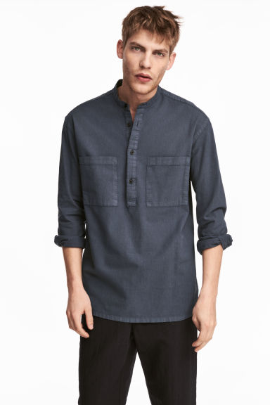 Linen-blend shirt Relaxed fit - Dark grey-blue - Men | H&M