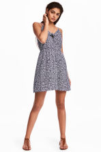 Tie-detail dress - Dark blue/Patterned - Ladies | H&M CN 1