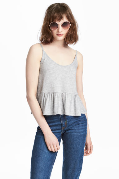 Strappy top with a flounce - Grey marl - Ladies | H&M CA 1