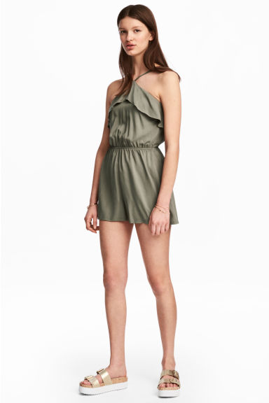 Flounced playsuit - Khaki green - Ladies | H&M GB
