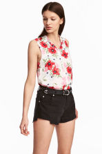 Sleeveless blouse - White/Floral - Ladies | H&M 1