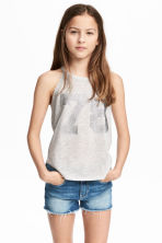 Printed jersey vest top - Light grey marl -  | H&M 1