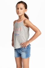 Printed jersey vest top - Grey marl/Pink - Kids | H&M 1