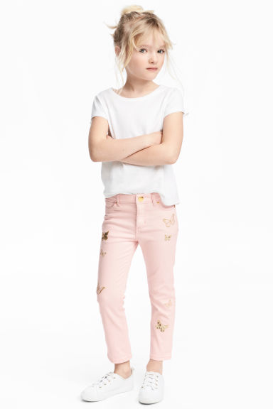 Embroidered twill trousers - Light pink -  | H&M