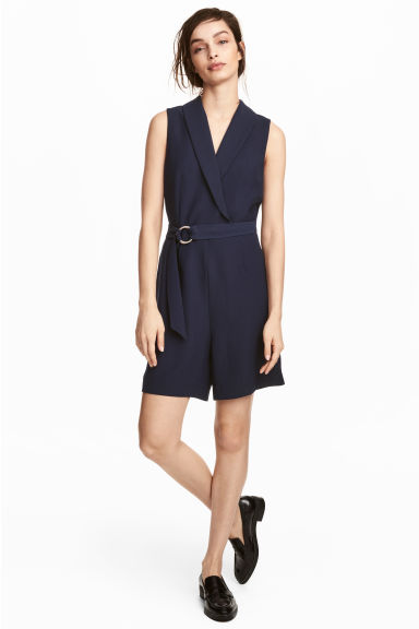 Shawl collar playsuit - Dark blue - Ladies | H&M 1