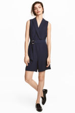 Shawl collar playsuit - Dark blue - Ladies | H&M CN 1