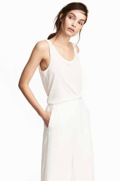 Lyocell jersey vest top - Natural white -  | H&M CN 1