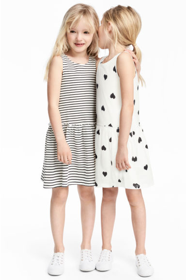 2-pack jersey dresses - White/Heart - Kids | H&M 1