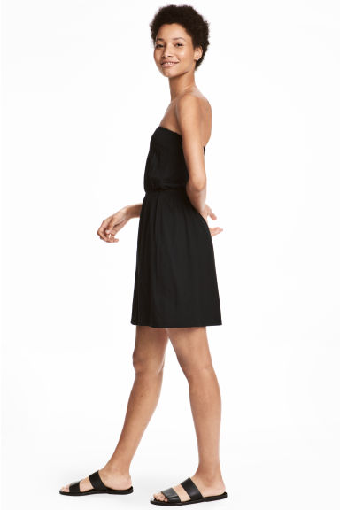 Strapless jersey dress - Black - Ladies | H&M CN 1