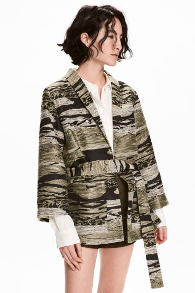 Textured jacket - Khaki/Patterned -  | H&M 1