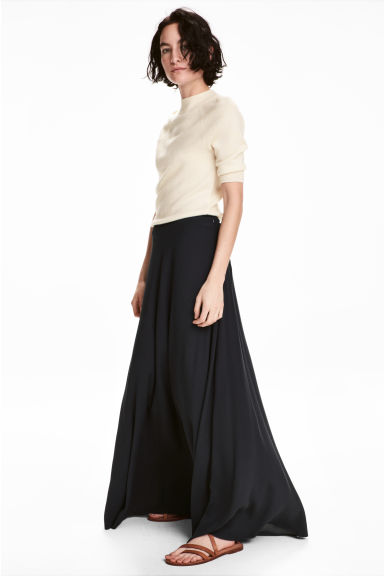 Long bell-shaped skirt - Dark blue - Ladies | H&M CN