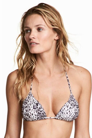Triangle bikini top - White/Leopard print - Ladies | H&M 1